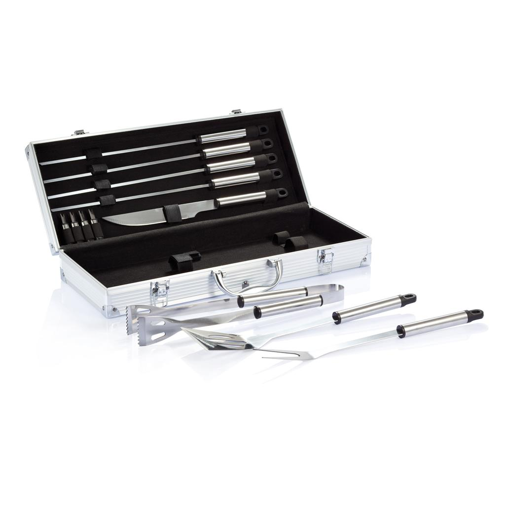 Barbecue set 12-delig in aluminium koffer
