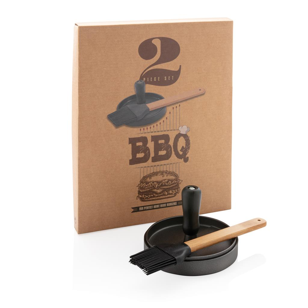 Aluminium barbecue set inclusief hamburgerpers